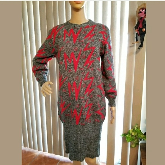 390fecc5 Vintage Dresses | 80s Lightning Bolt Knit Sweater Dress M | Poshmark